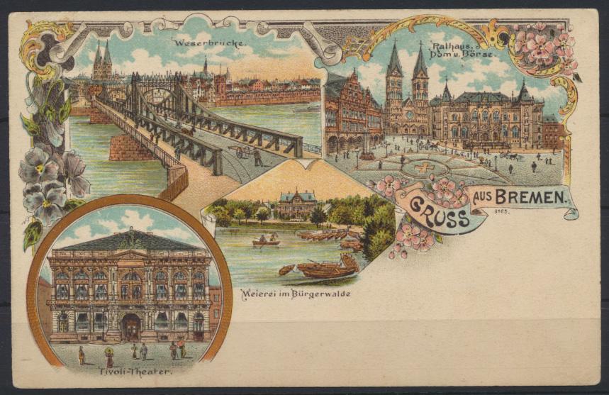Ansichtskarte Litho Bremen Weserbrücke Eisenbahn Bahnhof Theater ungelaufen 0