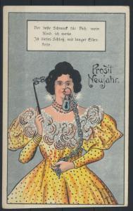 Schöne Glückwunsch Ansichtskarte Neujahr Humor Frauen Dame ungelaufen um 1910