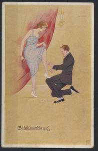 Ansichtskarte Jugendstil Art Nouveau Damen Frauen Mode Erotik Künstler sign.
