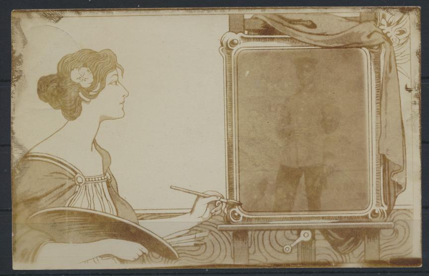 Ansichtskarte Jugendstil Art Nouveau Künstlerin Dame malt Soldaten Krieg selten 0