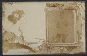 Ansichtskarte Jugendstil Art Nouveau Künstlerin Dame malt Soldaten Krieg selten