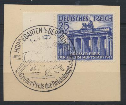 Reich 803 Briefstück SST Berlin Pferde Hoppegarten Brandenburger Tor Kat. 9,00 0