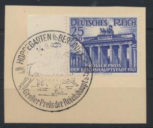 Reich 803 Briefstück SST Berlin Pferde Hoppegarten Brandenburger Tor Kat. 9,00