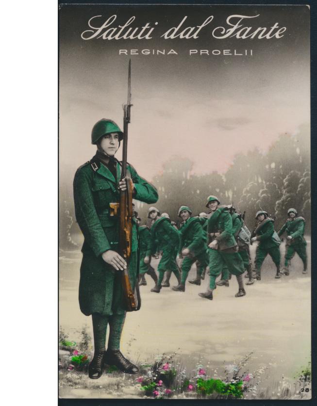 Militaria Ansichtskarte Italien Saluti dal Fante Regin Poelii ca. 1940 0