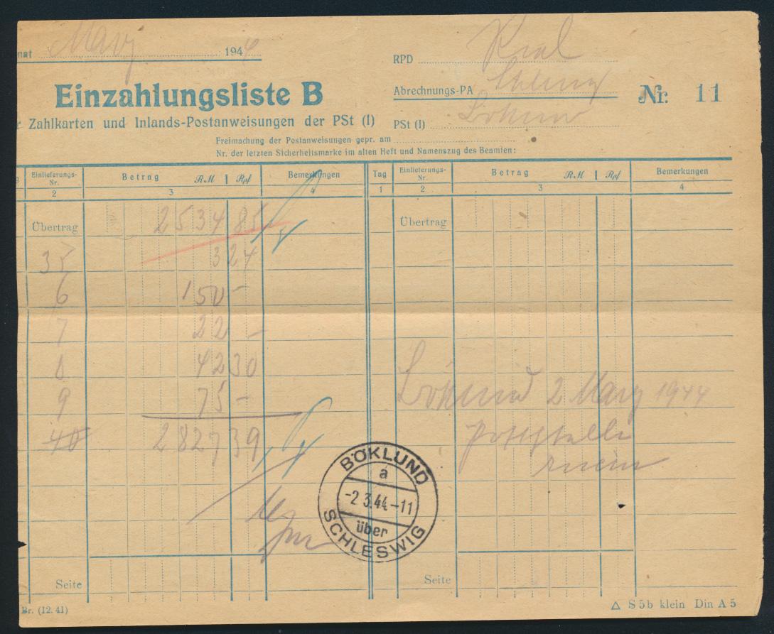 Bund Postsache Einzahlungsliste B für Postanweisungen Landpoststempel Böklund 0
