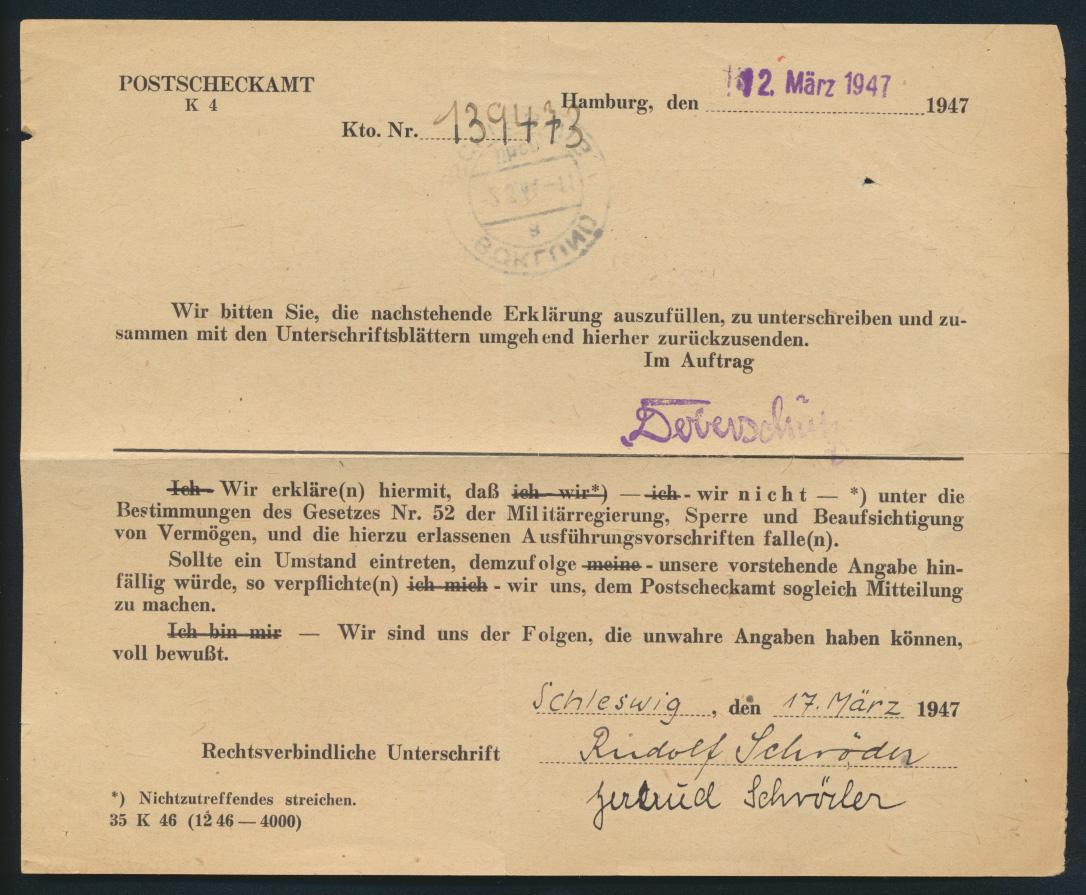 Bund Postsache Einzahlungsliste B für Postanweisungen Landpoststempel Böklund 1