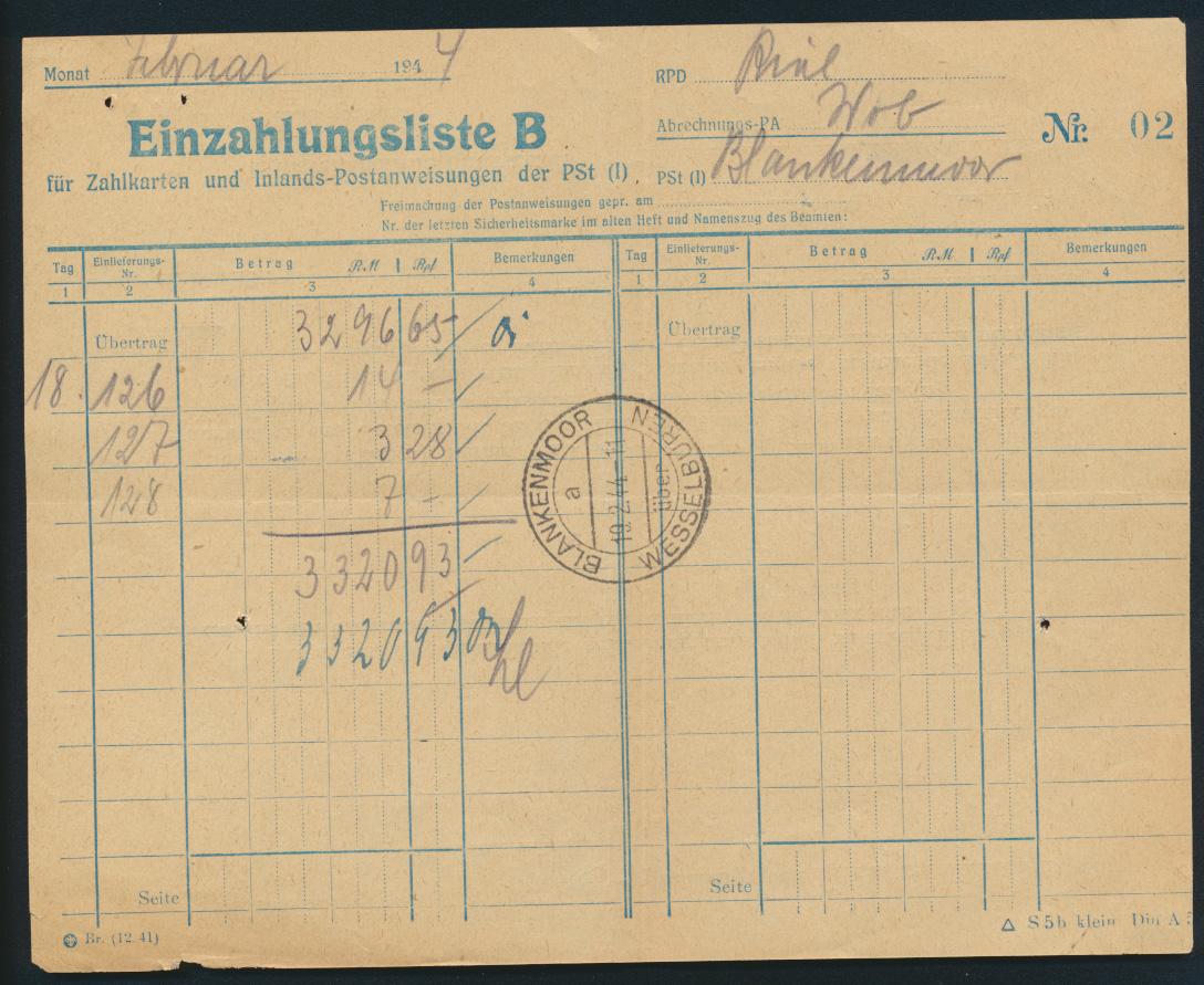 Bund Postsache Einzahlungsliste B f. Postanweisungen Landpoststempel Blankenmoor 0