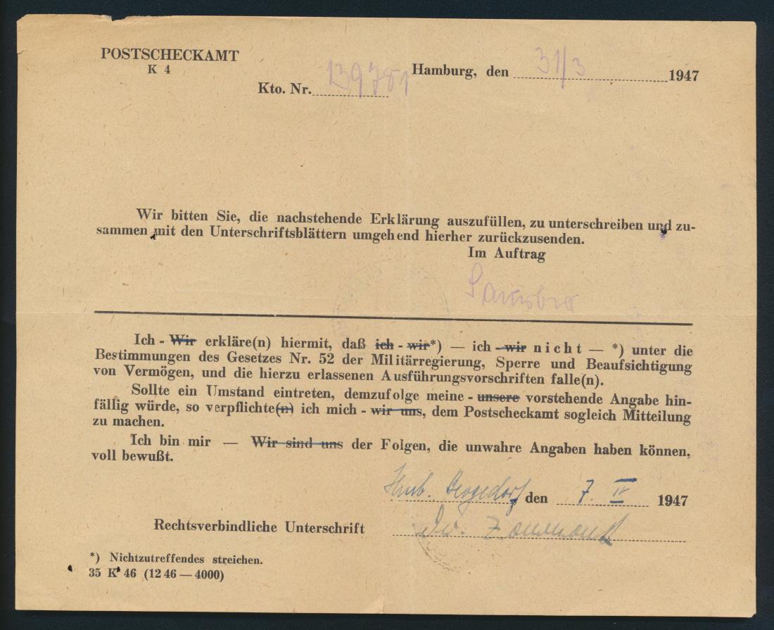 Bund Postsache Einzahlungsliste B f. Postanweisungen Landpoststempel Blankenmoor 1