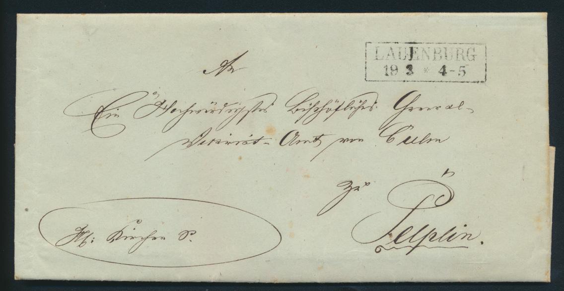 Altdeutschland Scheswig Brief komplett mit R 2 Lauenburg nach Pelplin Pommern  0