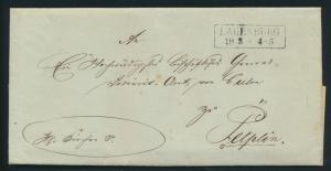Altdeutschland Scheswig Brief komplett mit R 2 Lauenburg nach Pelplin Pommern