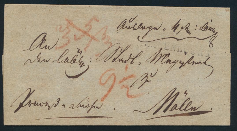 Altdeutschland Scheswig Vorphila Brief mit L1 Lauenbourg nach Mölln um 1814 0