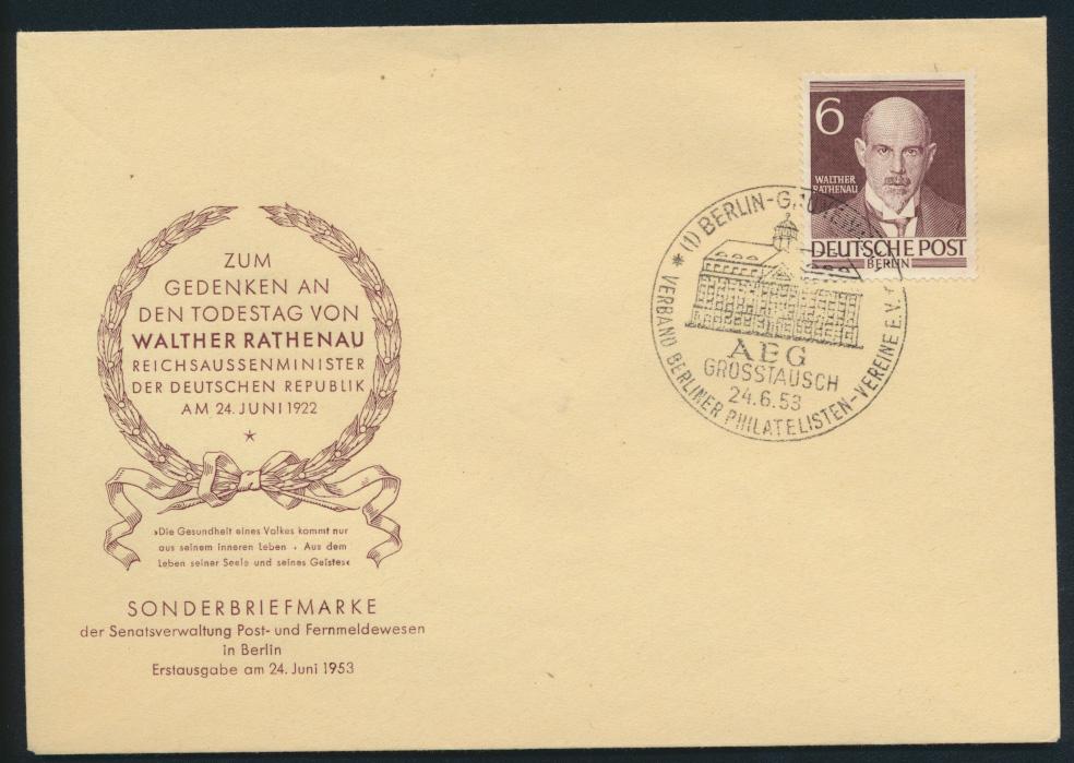 Berlin Brief 93 6 Pfg. Männer der Geschichte Rathenau Schriftsteller FDC 60,00 0
