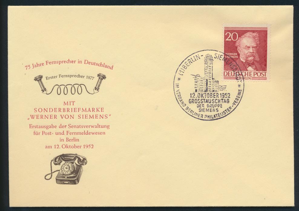 Berlin Brief 95 20 Pfg Männer der Geschichte Siemens Erfinder FDC Kat.Wert 30,00 0