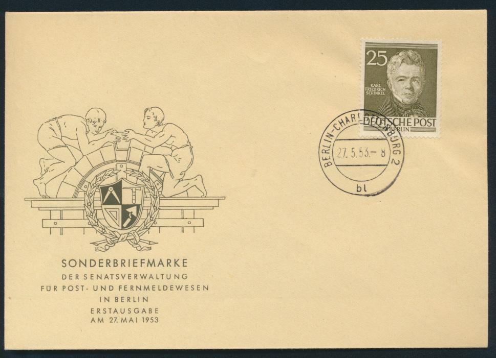 Berlin Brief 98 25 Pfg Männer der Geschichte Schinkel Maler FDC Kat.-Wert 30,00 0