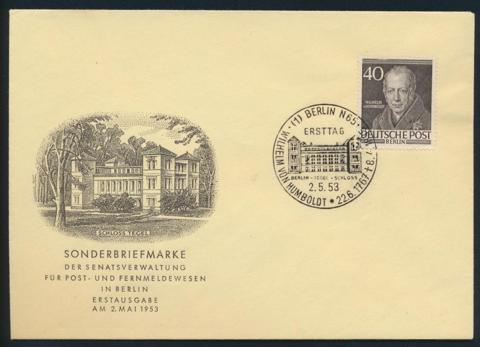 Berlin Brief 100 40 Pfg Männer der Geschichte Humboldt Gelehrter FDC Kat. 30,00 0