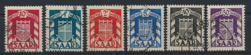 Saarland Dienst D ex 33-43 Wappen gestempelt Kat.-Wert 34,40 0