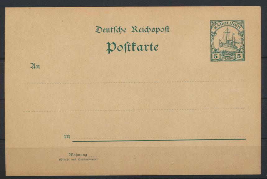 Deutsche Kolonien Karolinen Ganzsache P 7 Schiffszeichnung ungebraucht Ausgabe 0