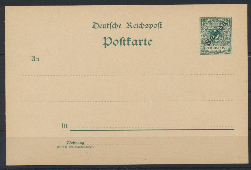 Deutsche Kolonien Samoa Ganzsache P 1 I ohne WZ ungebraucht Kat.-Wert 45,00 0