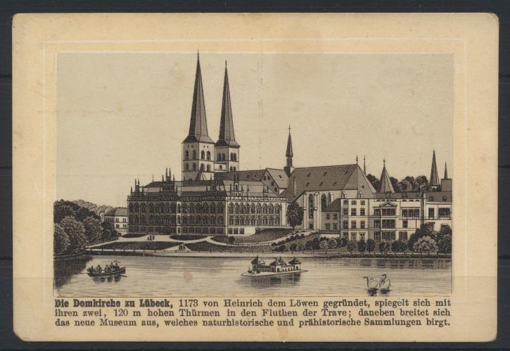 Ansichtskarte Lübeck Domkirche Reklame Werbung S. Adam Berlin Knaben Garderobe  0
