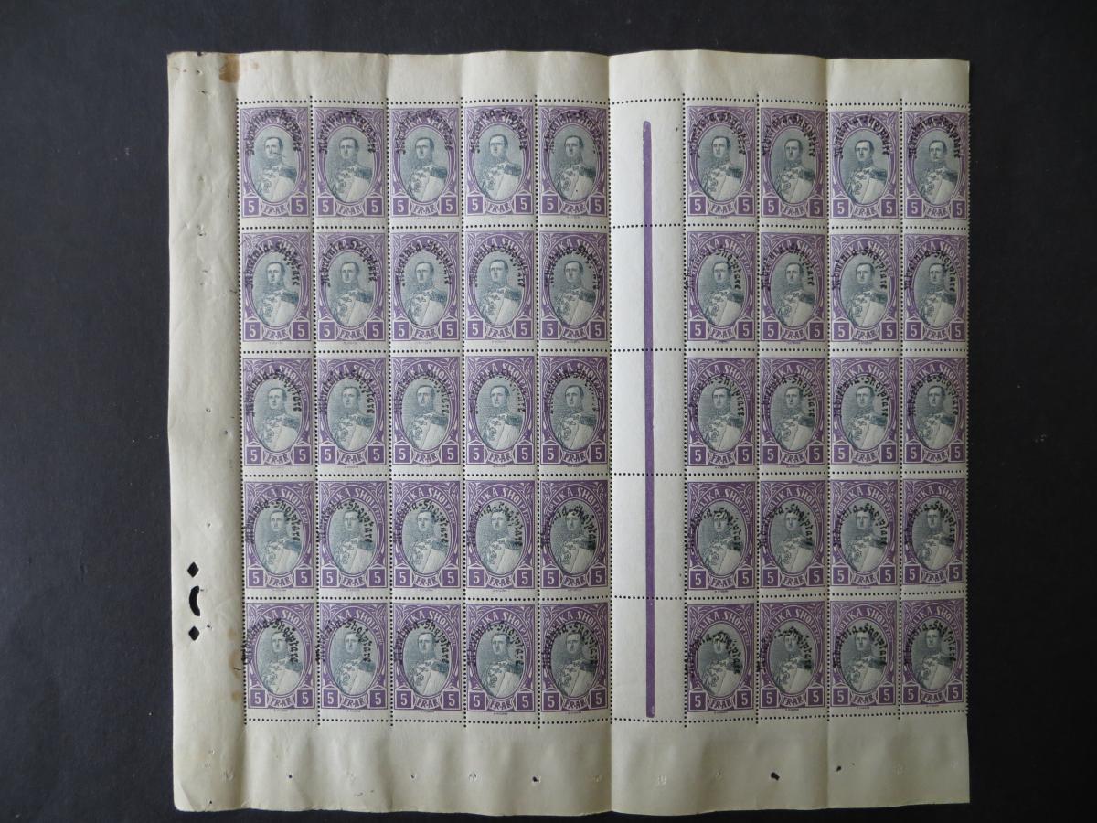 Albanien 198 Verfassung Bogenteil 45 Stück postfrisch Albania Kat.-Wert 675,00 0