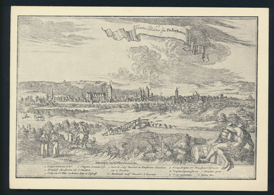 Ansichtskarte Paderborn nach einem Kupferstich von A.C. Fleischmann 1713 0