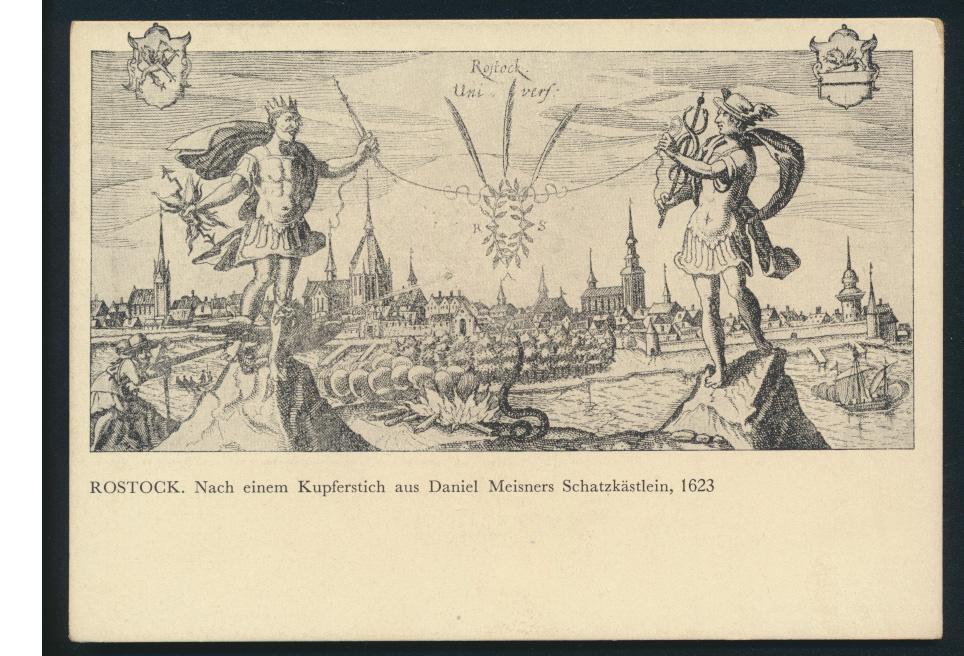 Ansichtskarte Rostock nach einem Kupferstich Daniel Meisners Schatzkästlein 1623 0
