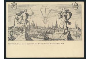 Ansichtskarte Rostock nach einem Kupferstich Daniel Meisners Schatzkästlein 1623