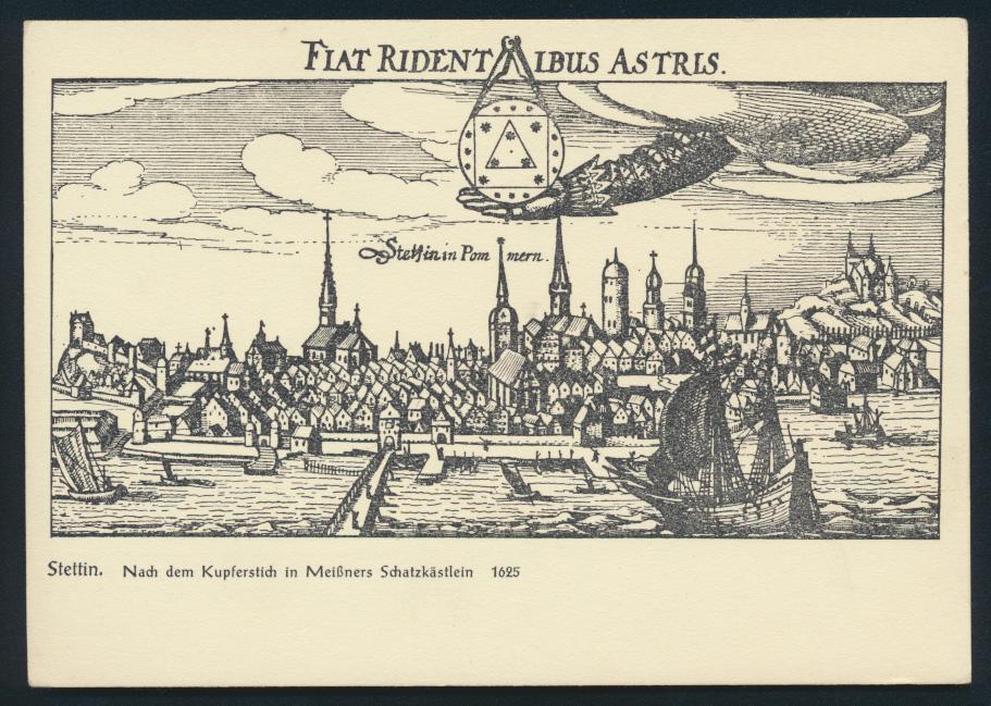 Ansichtskarte Stettin nach dem Kupferstich in Meißners Schatzkästlein 1625 0