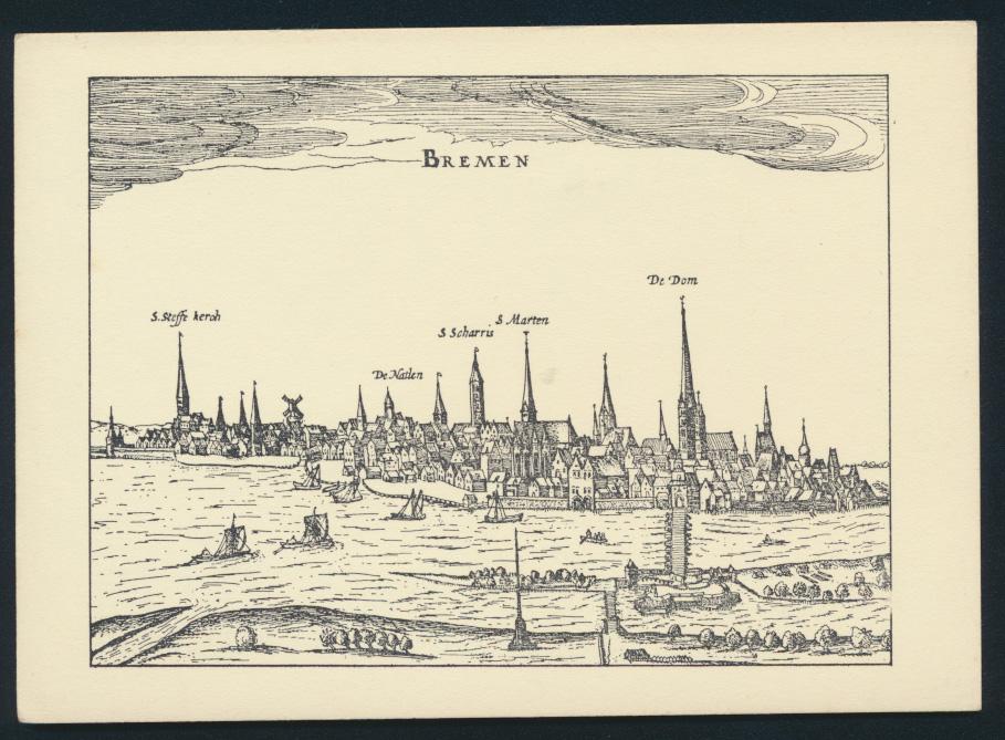 Ansichtskarte Bremen nach einer Radierung aus Bertius 1616 0