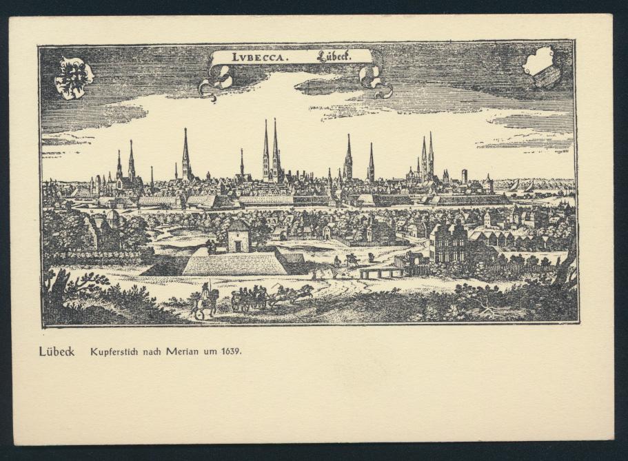 Ansichtskarte Lübeck Kupferstich nach Merian um 1639 0