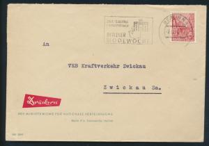DDR Brief 580 Werbestempel Berliner Modewoche Dynamosporthalle Brandenburger Tor