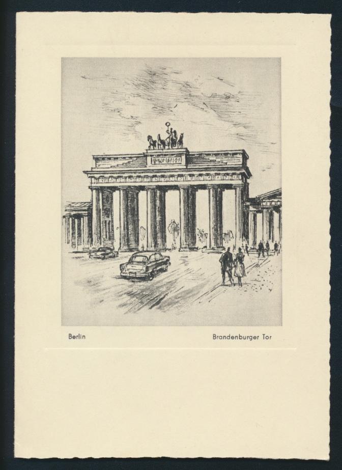 Berlin Brandenburger Tor nach einer Radierung von G. Heiß Leipzig selt. Klapp - 0
