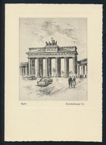 Berlin Brandenburger Tor nach einer Radierung von G. Heiß Leipzig selt. Klapp -