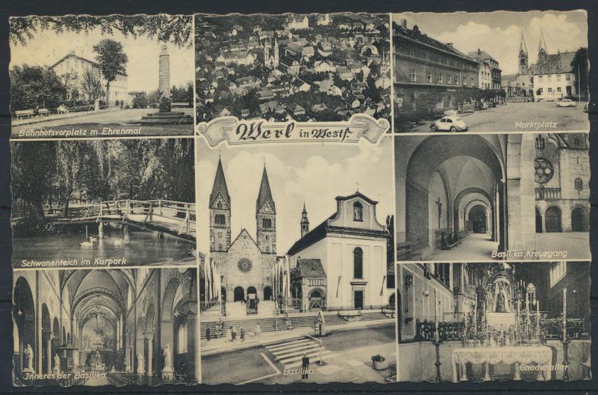 Ansichtskarte Werl Bahnhof Marktplatz Kirche Auto VW Käfer nach wetter Ruhr 0