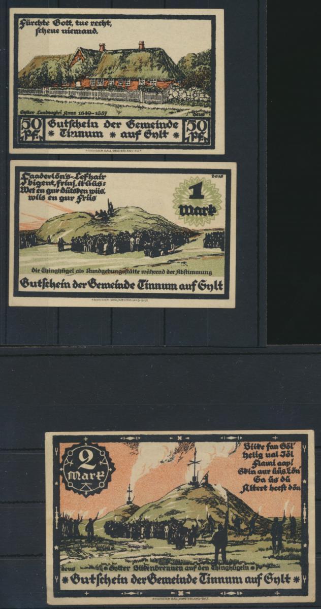 Notgeld Banknoten Schleswig Holstein 3 Scheine Tinnum auf Sylt 0,50 1 und 2 Mark 0
