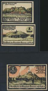 Notgeld Banknoten Schleswig Holstein 3 Scheine Tinnum auf Sylt 0,50 1 und 2 Mark