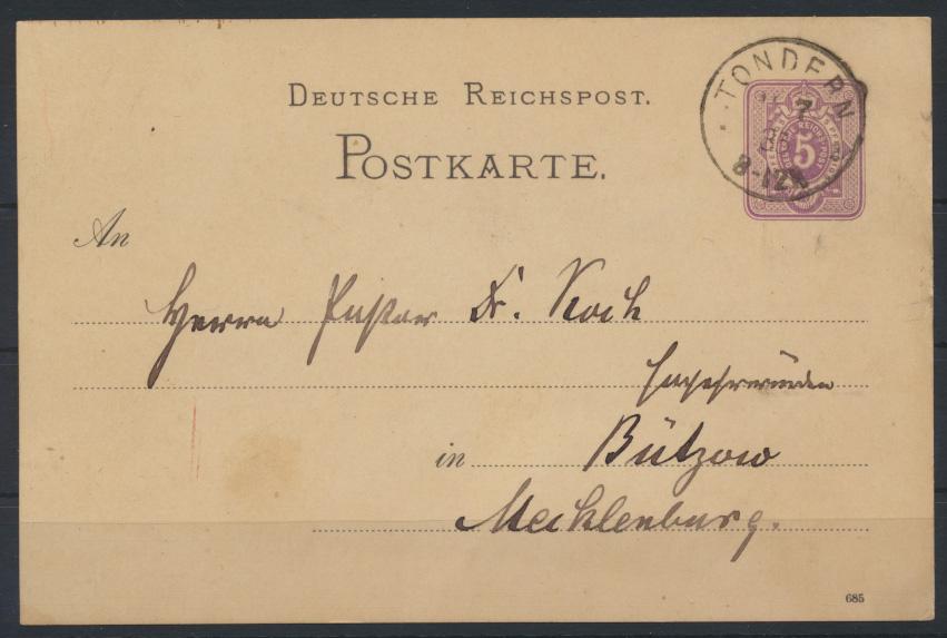 Deutsches Reich Ganzsache 5 Pfg. mit K1 Tondern Schleswig Holstein n Bützow 1885 0