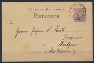 Deutsches Reich Ganzsache 5 Pfg. mit K1 Tondern Schleswig Holstein n Bützow 1885