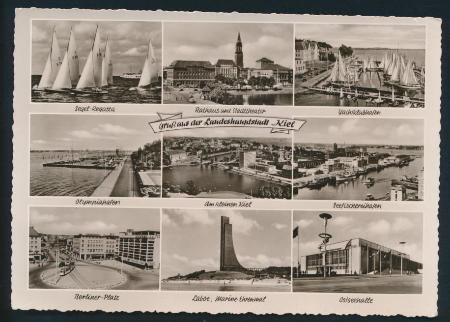 Ansichtskarte Kiel 6-fach Ansicht Olympiahafen Regatta Verlag Schöning Lübeck 0