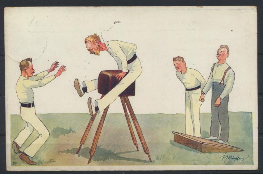 Ansichtskarte Sport Künstler Humor Karikatur  Bockspringen Leipzig Reudnitz 1912 0