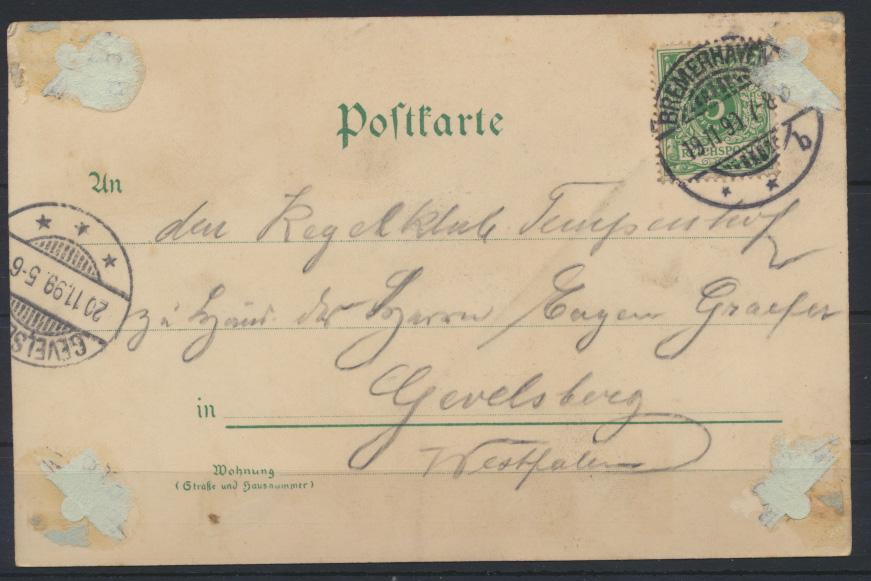 Ansichtskarte Jugendstil Art Nouveau Künstler Humor Bremerhaven Gevelsberg 1899 1