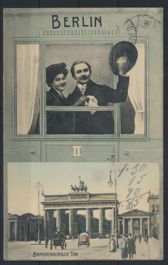 Ansichtskarte Berlin Brandenburger Tor nach Neustadt Coburg 1907 0