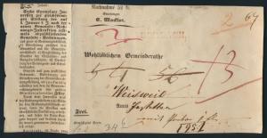 Altdeutschland Baden Nachnahme mit rotem L1 DURLACH Karlsruhe 1845 nach Weisweil