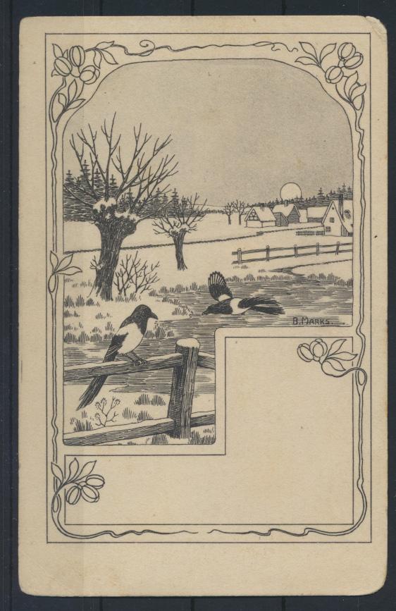Ansichtskarte Jugendstil Art Nouveau Vögle Elstern Künstlerkarte sign. B. Marks 0