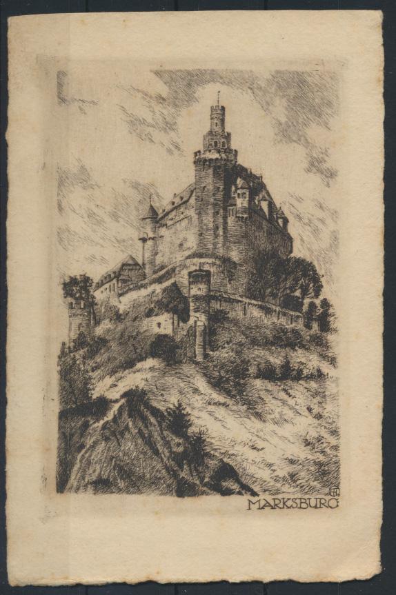 Ansichtskarte Radierung Marksburg Braubach am Rhein Künstlerkarte sign.  0
