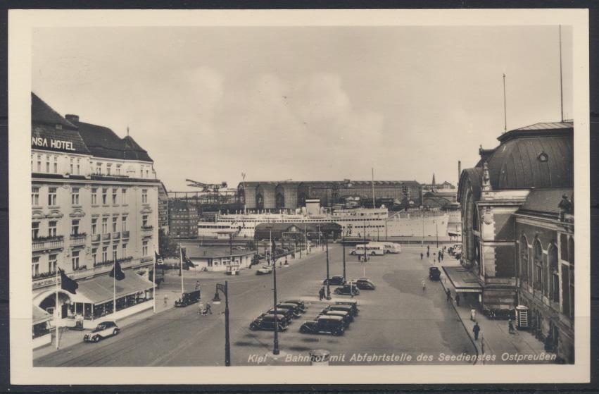 Ansichtskarte Kiel Bahnhof Abfahrtstelle des Seedinst Ostpreußen Autos 0