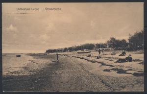 Ansichtskarte Laboe Ostsee Strandpartie Passanten 1923 ab Kiel n. Frankfurt