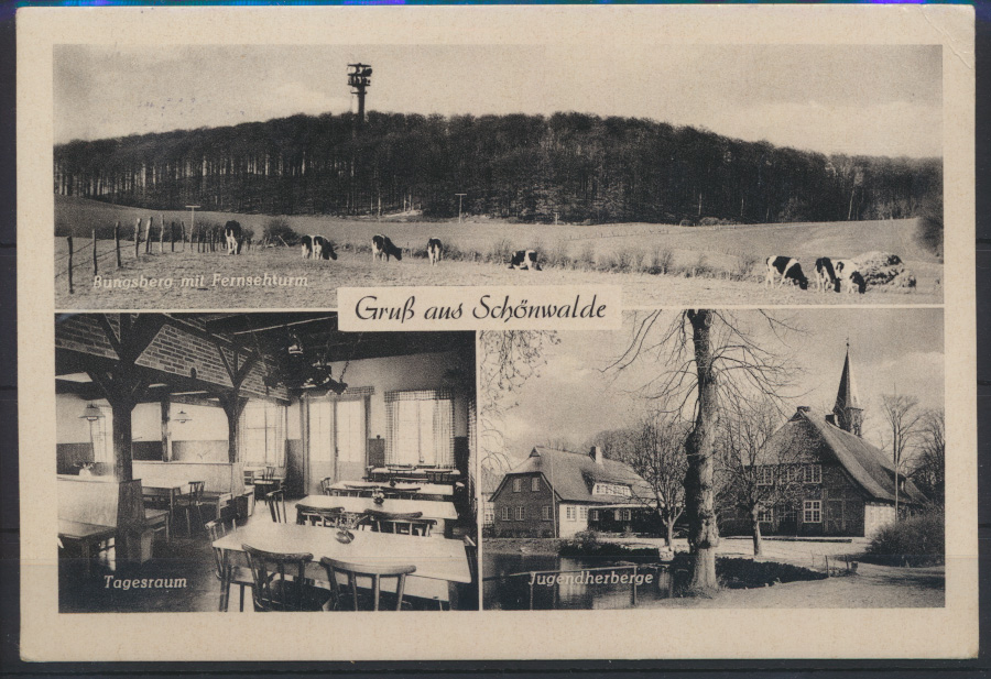 Ansichtskarte Schönwalde Jugendherberge Innenansicht Fernsehturm n. Rüsselsheim 0