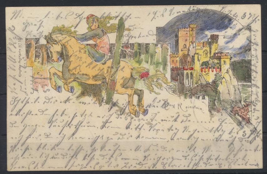 Ansichtskarte Litho Künstler Nr.10 Burg Rheinstein Trechtingshausen Mainz-Bingen 0