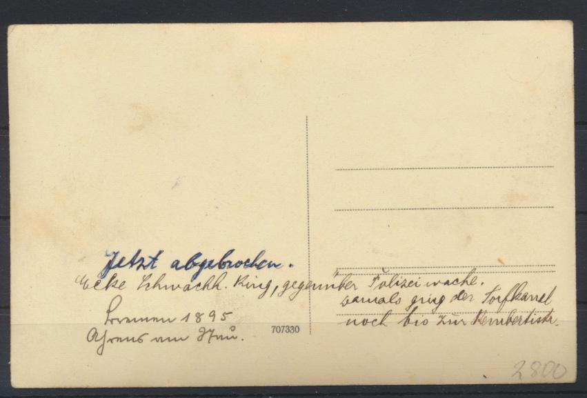 Foto Ansichtskarte Bremen rs. handschriftlich 1895 - jetzt abgebrochen 1